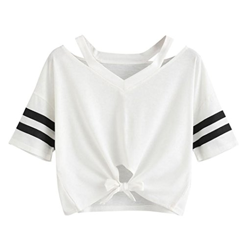 Women Teen Girls Fashion Summer Short Sleeve Crop Tops T-Shirt Cutout Shoulder Striped Tee Shirts