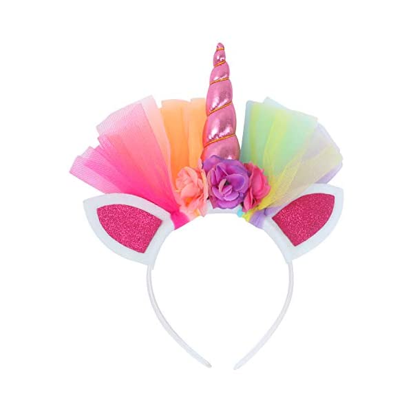 Toy4baby Little Girls Layered Rainbow Tutu Skirts with Wings Unicorn Headband and Bracelets 7