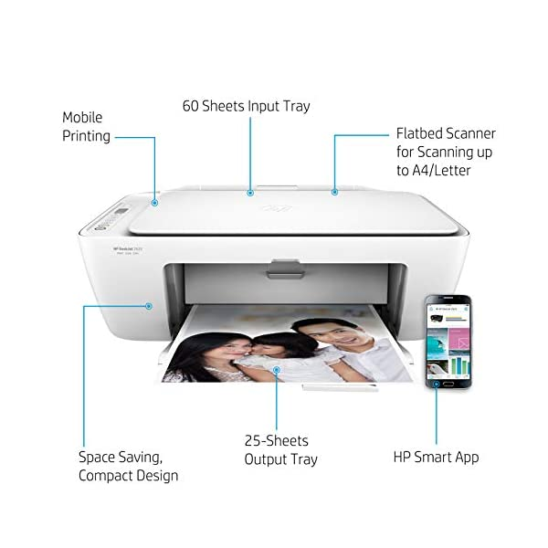 HP DeskJet 2622 All-in-One Wireless Colour Inkjet Printer (White) with Voice-Activated Printing (Works with Alexa and Google Assistant)