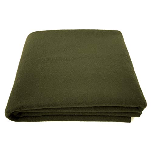 EKTOS 90% Wool Blanket, Olive Green, Warm & Heavy 4.0 lbs, Large Washable...