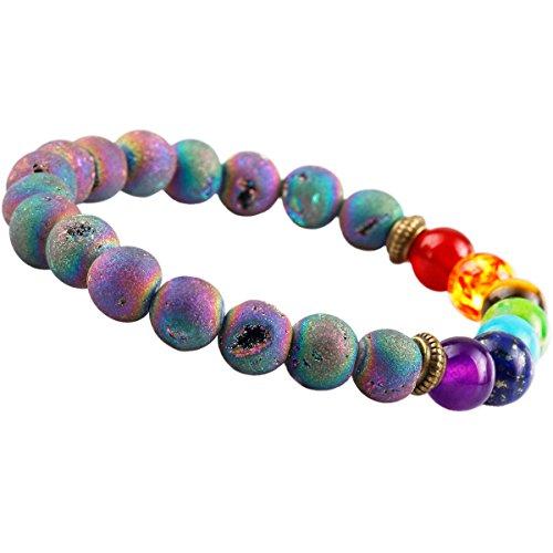 (SUNYIK Rainbow Aura Titanium Coated Crystal Druzy Bracelet,7 Bead Chkara Healing)