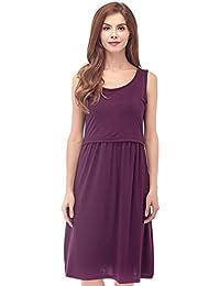 Women's Sleeveless Maternity Dress Empire Waist Nursing Breastfeeding Dress Summer