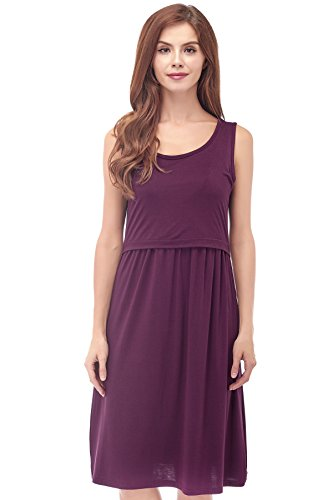 - Bearsland Women's Sleeveless Maternity Dress Nursing Breastfeeding Dresses with Pockets Purplered