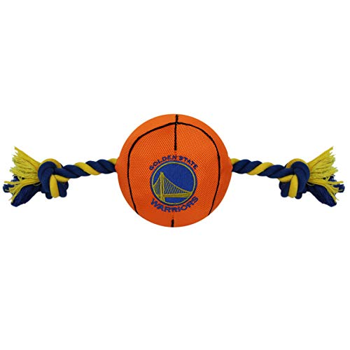 NBA Golden State Warriors Basketball Toy. - Tough Nylon Pet Toy with Tug Ropes & Inner Squeaker ()