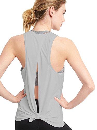 Bestisun Women's Sleeveless Summer Fall Cute Light Weight Athletic Backless Tank Tops Casual T-Shirt Medium Gray (Boxing Womens Light T-shirt)