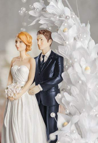 Bride and Groom Calla Lily Arch Wedding Cake Topper - Groom in Navy Suit