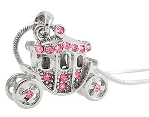 Princess Pumpkin Carriage Stagecoach Fairy Tale Charm Pendant Necklace Little Girls, Teens, Granddaughter Jewelry Gift, Halloween, Christmas, Birthday Present, Compatible w/Cinderella Costume (Pink)]()