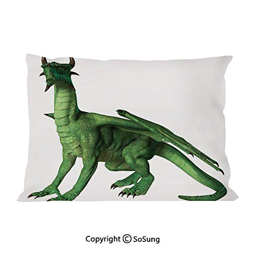(Kids Decor Bed Pillow Case/Shams Set of 2,Ugly but Cute Dragon Standing and Looking Miniature Dino Like Image Print Queen Size Without Insert (2 Pack Pillowcase 30