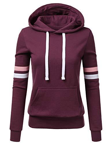 - NINEXIS Womens Long Sleeve Fleece Pullover Hoodie Sweatshirts w/tapings Sleeve Plum L