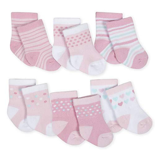 Gerber Baby 6-Pair Wiggle Proof Sock, Princess Arrival, 3-6 Months