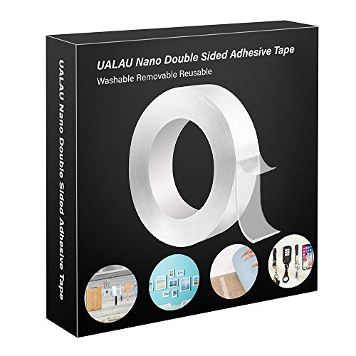 UALAU Double Sided Mounting Tape - 1.18 in x 16.5 ft, Removable Traceless Washable Clear Nano Gel Grip Sticky Adhesive Tape for Home/Office/Car/Christmas Decor, Fix Carpet Mats