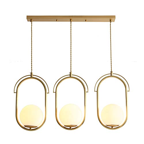 - TopDeng Glass Globe Ring Pendant Lights, E12 Nordic Modern Gold Chandeliers Bedroom Dining Room Living Room Ceiling Pendant Lighting-3 Lights 29x36cm