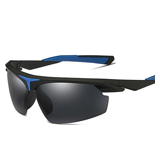 Guía Hombres Polarizadas Negro TIANLIANG04 Verde Espejo Gafas Polarizado Sol Cuadro blue black with Hombres De Para Gafas Bastidor Medio De El Sol Uv400 Con 7YxEw4Oqx