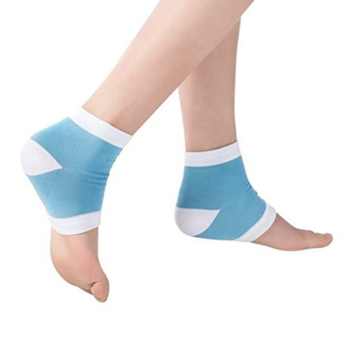 CTKcom 2 Pairs Gel Heel Socks for Dry Hard Cracked Skin Moisturising Open Toe Comfy Recovery Socks- One Size Fits Most,Padded Comfort to Help with Arthritis and Foot and Heel Pain