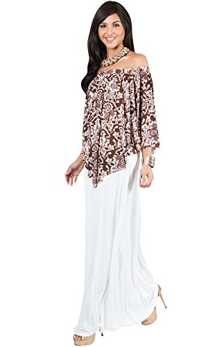KOH KOH Plus Size Womens Long Strapless Flowy Poncho Cocktail Evening Elegant Damask Print Cute Off Shoulder Shoulderless Sexy Gown Gowns Maxi Dress Dresses, White and Brown 3 X 22-24