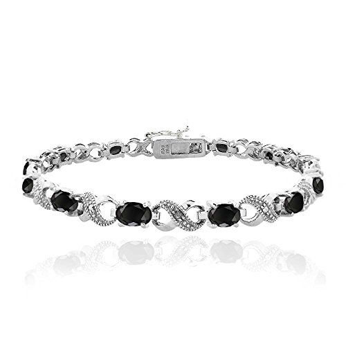 Ebony Accents (Silver Tone 7.2ct TGW Ebony Sapphire & Diamond Accent Infinity)