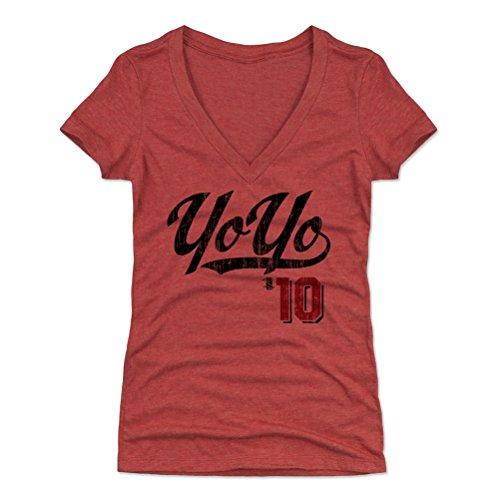 500 LEVEL Yoan Moncada Women's V-Neck Shirt Small Tri Red - Chicago Baseball Women's Apparel - Yoan Moncada Players Weekend K