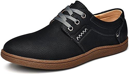 Conducción Los Británicos Encadenan Phefee Casuales Negro de holgazán Para Elegantes de Zapatos Zapatos de Retros Hombre Cuero nn7wRTq6