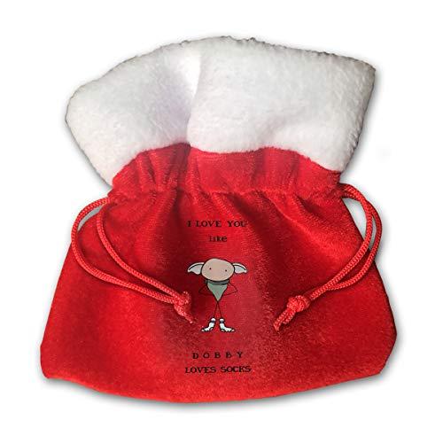 CYINO Personalized Santa Sack,I Love You Like Dobby Loves Socks Portable Christmas Drawstring Gift Bag (Red) -