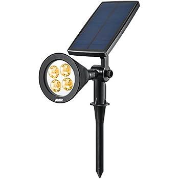 Awesome AMIR Solar Spotlights, Upgraded Solar Garden Lights Outdoor, 360°  Adjustable 4 LED Landscape