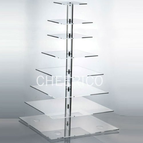 8 Tier Large Square Pole Wedding Acrylic Cupcake Stand Tree Tower Cup Cake Display by Cheerico