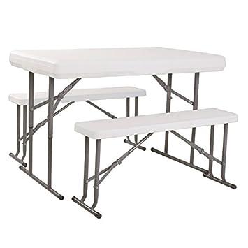 Durafold plastic folding picnic table white picnic bench set 113cm durafold plastic folding picnic table white picnic bench set 113cm length portable folding table watchthetrailerfo