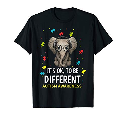 - It's Ok To Be Different Elephant Autism Awareness T-Shirt