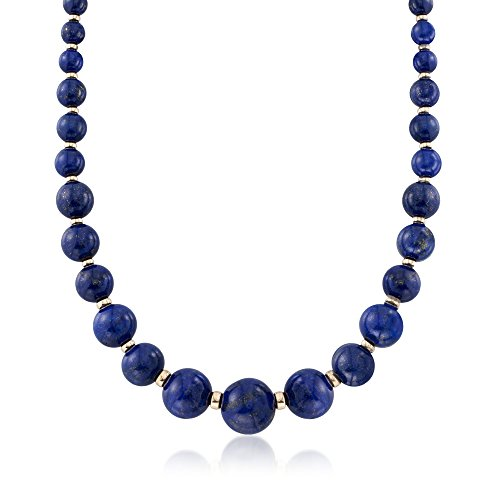 Bead Gold Graduated (Ross-Simons 6-18mm Graduated Blue Lapis Bead Necklace With 14kt Yellow Gold)