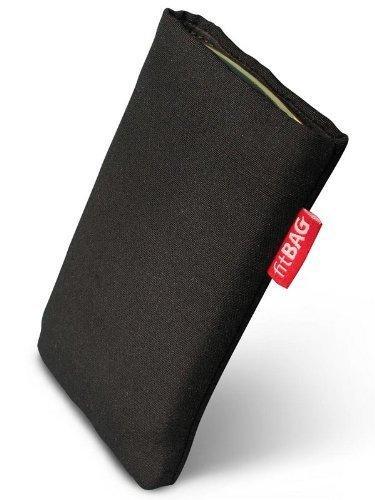 fitBAG Rave Schwarz Handytasche Tasche aus Textil-Stoff mit Microfaserinnenfutter für APPLE iPhone 3Gs 16GB 16 GB