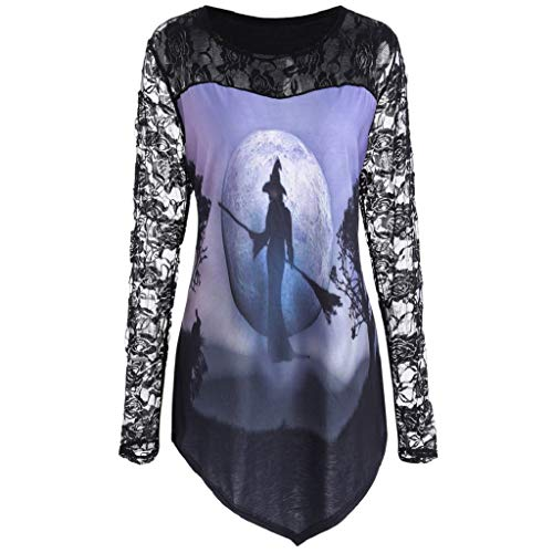 Fiaya Halloween Costume Women's Witch Printed Cosplay Design Long Sleeve Blouse Lace Insert Shirt Top (XL, Purple)]()