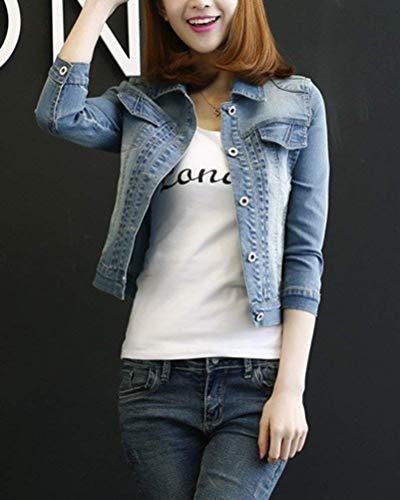 Fit Tasche Bavero Slim Elegante Manica Cappotto Jeans Lunga Giacche Accogliente Chic Anteriori Autunno Donna Corto Cute Blau Outwear Single Moda Breasted Di q4P6wvw