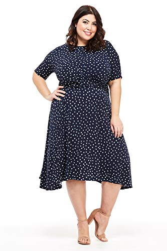 London Times Women's Plus Size Asymmetric Ruched Waist Fit and Flare Dress (Navy Blue, 2X)