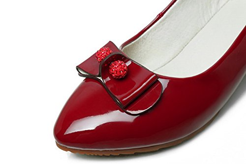 Heel WeiPoot Pumps Shoes Claret Solid Patent Toe Closed Women's No Pointed Leather qqx10R