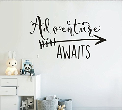 Art Travel Theme Decal Adventure Awaits Quote Arrow Vinyl Wall Decals Living Room Decor Wall Sticker Art Adventure Mural for Kids Bedroom NY-360 (Black, 42X76CM)