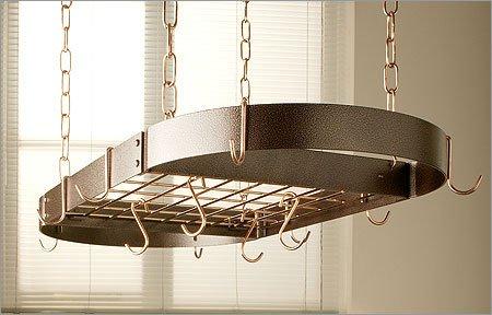 Oval Grid Pot Rack in Hammered Bronze w Brass Hooks (Hammered Copper/Black)