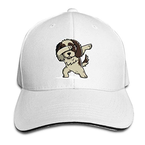 Men & Women's Dabbing Shih Tzu Cotton Baseball Hat Casual Sun Hat for Mens Womens White