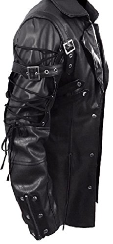 Gothic_Master Men's PU Leather 3 Buttons Coat 4
