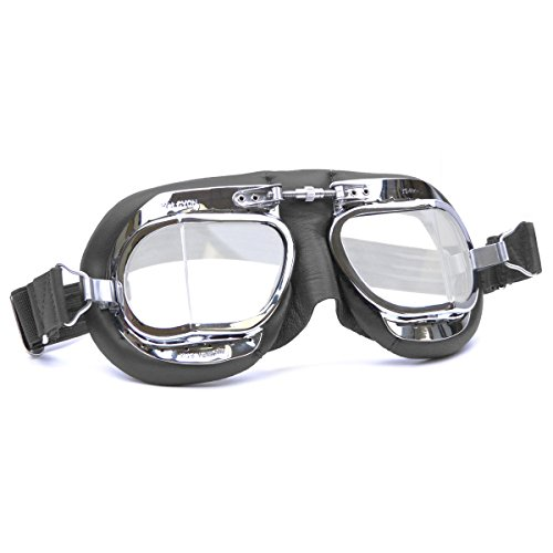 Black Classic Goggles - Halcyon Mk49 Black Leather Classic Motorcycle Compact Goggles/Classic Flying Goggles