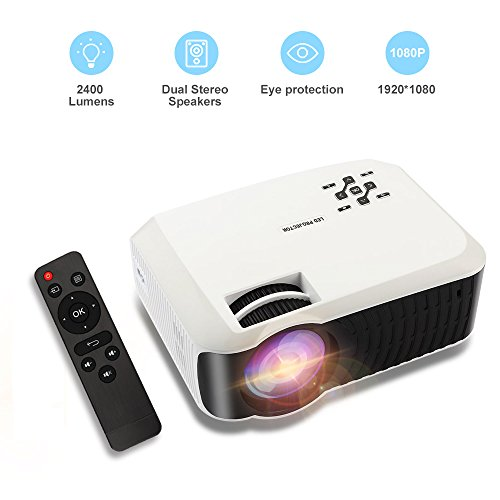 LCD Video Projector, Hoolick 2400 Lumens Home Theater Portable Projector Support 1080P HDMI USB SD Card VGA AV for Home Cinema TV Laptop Game (T23)