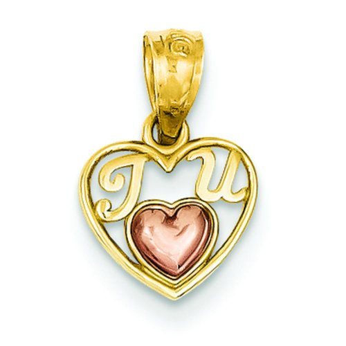 - 14K Rose Yellow Two Tone Gold Mini I Love U Pendant
