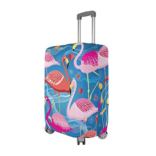 Hello Welcome Tropical Flamingo Floral Heart Love Valentines Suitcase Luggage Cover Protector for Travel Kids Men Women by ALAZA (Image #1)