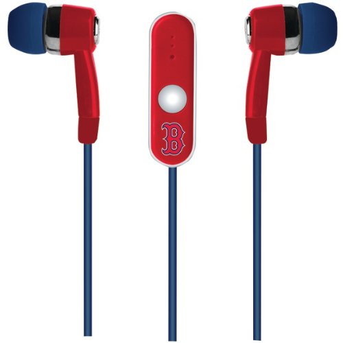 CELMLBSTHFBSX - MIZCO SPORTS MLB-STHF-BSX Stereo Earbuds with Microphone (Boston Red Sox)
