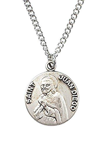 Patron and Protector Medals Sterling Silver Saint St Juan Diego Dime Size Medal Pendant, 3/4 - Juan Medal Diego