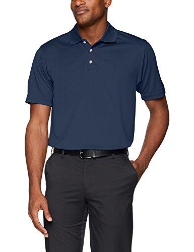 Pebble Beach Men's Golf Polo Shirt with Short Sleeve and Horizontal Textured Design, Navy, Medium