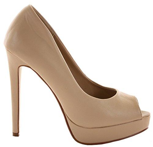 Ladies Womens Peeptoe Platform High Heels Bridal Court Bridesmaid Stiletto Shoes Pumps Size 3-8 New Nude v8JKk