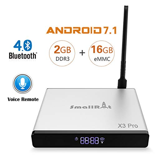 Google Android 7.1 OS TV Box SmallRocket X3 PRO 4K 3D Media Player 2G RAM 16G ROM Smart Mini Box with Builtin 2.4Ghz WiFi Bluetooth4.0 and Voice Remote by SMALLRT