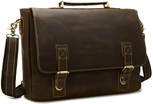 Iswee Men's Quality Leather Messenger Bag for 15'' 16'' or 17'' Laptop Vintage Satchel Briefcase Shoulder Bag for Traveling and Working Campus Horizontal Book Bag (Large Dark Brown) by Iswee