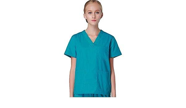 OPPP Ropa médica Ropa de Lavado hospitalario Trajes de Manga Corta Batas de algodón Abrigos de Pincel de Aislamiento Uniformes de Dentistas dentales.
