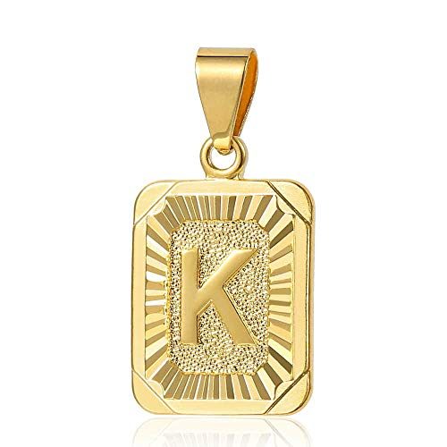 Trendsmax Mens Womens Yellow Gold Plated Square Capital Letter K Pendant Only No Chain