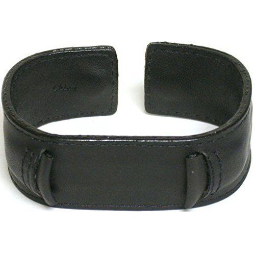 Leather 70's Watch Band (Watch band, Leather Wide Wrist Watch Band Rock & Roll, Fits all Brand watches from 18mm to 22mm (Black))